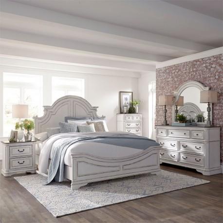 Magnolia Manor Panel Bed, Dresser & Mirror, Chest, NS