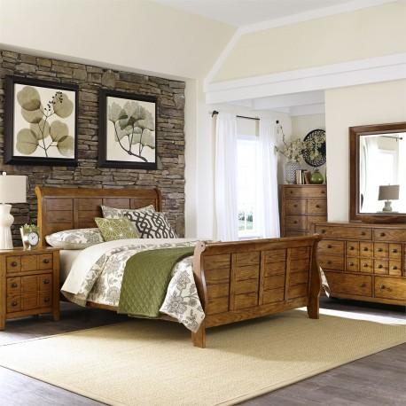Grandpas Cabin Sleigh Bed, Dresser & Mirror, Chest, NS