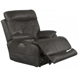Naples Power Headrest Lay Flat Leather Recliner - Steel