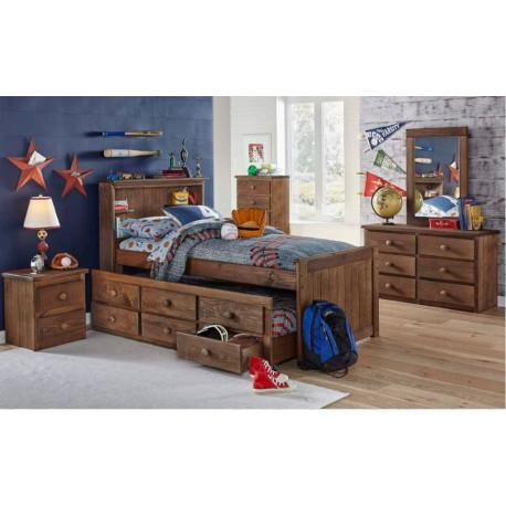 Twin Bookcase Captain's Bed w/ Trundle (696)